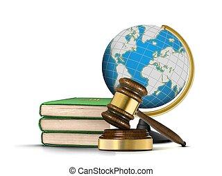 gavel, kula, książki, prawo