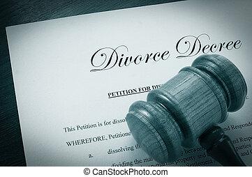 gavel, rozwód, dekret, dokument, prawny