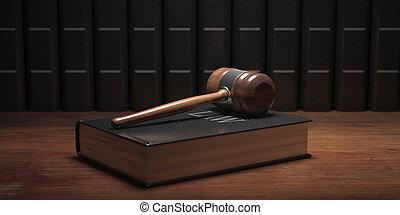 gavel, tło., książka, prawo, biurko, sędzia, 3d, biuro, ilustracja