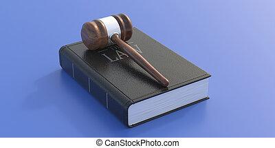 gavel, tło., książka, prawo, sędzia, 3d, błękitny, ilustracja