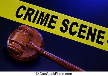 gavel, taśma, scena, prawny, zbrodnia