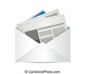 gazeta, poczta, projektować, ilustracja