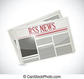 gazeta, projektować, ilustracja, rss