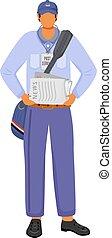 gazeta, rozdziela, paperboy, amerykanka, rysunek, człowiek, kolor, samiec, carrier., litera, biały, illustration., news., płaski, odizolowany, biuro, codzienny, pracownik, jednolity, tło, service., poczta, wektor