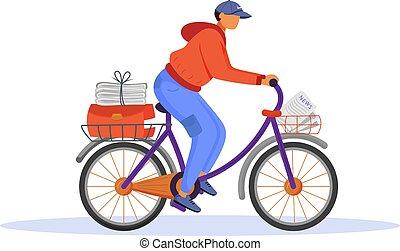gazeta, rozdziela, paperboy, rysunek, człowiek, kolor, samczyk młody, carrier., litera, biały, illustration., rower, news., płaski, odizolowany, biuro, codzienny, pracownik, tło, delivery., poczta, wektor, służba