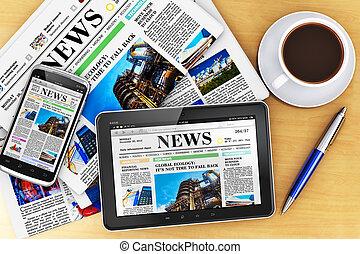 gazety, komputer, tabliczka, smartphone