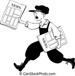 gazety, paperboy, wyścigi, opakujcie