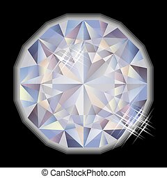 gemstone, diament, wektor, fason