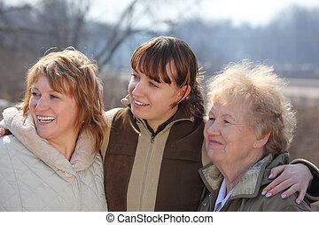 generacje, kobiety, trzy, rodzina, jeden