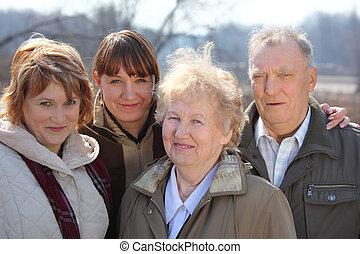 generacje, trzy, rodzina, jeden
