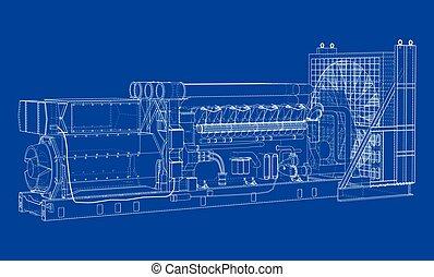 generator., wielki, diesel, przemysłowy, wektor