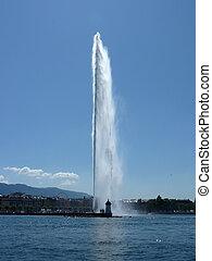 genewa, fontanna, szwajcaria