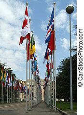 genewa, narody, gmach, geneva--united, zjednoczony, geneva--view, un