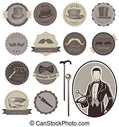 gentlemen's, set-, etykiety, -, przybory, wysoki, wektor, jakość