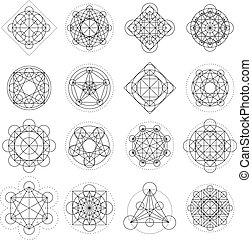 geometria, wektor, znaki, magia