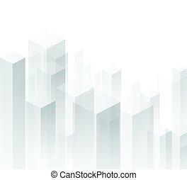 geometryczny, tło., perspektywa, biały, 3d