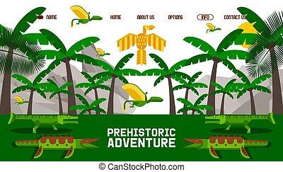geometryczny, website, styl, wektor, ilustracja, prosty, przygoda, rysunek, prehistoryczny, dinozaur