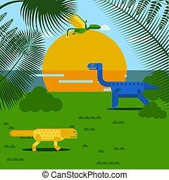 geometryczny, zwierzę, styl, wektor, krajobraz, prosty, ilustracja, natura, rysunek, prehistoryczny, dinozaur