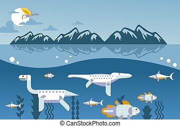 geometryczny, zwierzę, woda, styl, wektor, pływacki, ilustracja, prosty, pod, rysunek, prehistoryczny, dinozaur