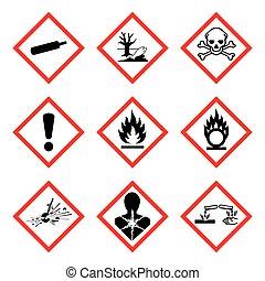 ghs, pictogram., wektor, nowy, ostrzeżenie znaczą, odizolowany, whmis, ryzykować, ), 9, ilustracja, (