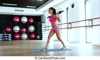 giętkość, pchnięcie, barbell, sala gimnastyczna, mięśnie, kobieta