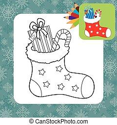 gifts., boże narodzenie, kolorowanie, strona