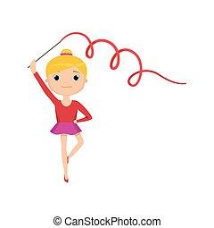 gimnastyczny, odizolowany, przeciw, czerwone tło, garnitur, dziewczyna, biała wstążka