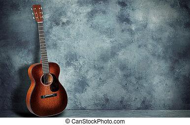 gitara, ściana, grunge, tło