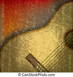 gitara, akustyczny, abstrakcyjny, muzyka, tło