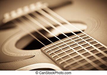 gitara, akustyczny, grunge