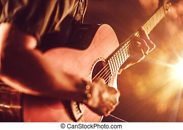 gitara, akustyczny, interpretacja