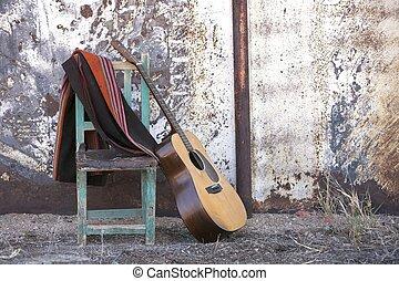 gitara, akustyczny, krzesło, nachylenie