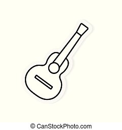 gitara, akustyczny, wektor, ilustracja, icon-