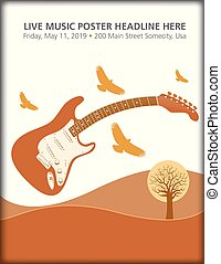 gitara, birds., elektryczny, krajobraz