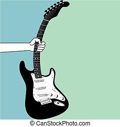 gitara, chwyta, elektryczny, ręka
