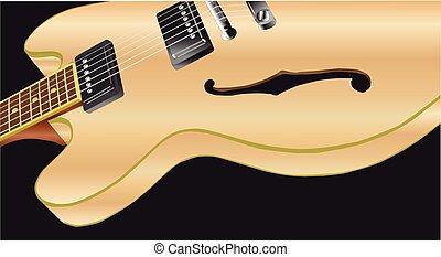 gitara, drewno, blady, elektryczny