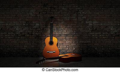 gitara, grungy, akustyczny, w, nachylenie