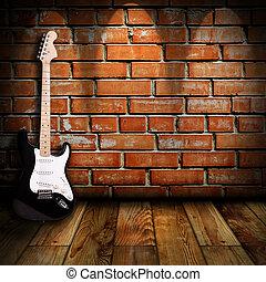gitara, pokój, elektryczny