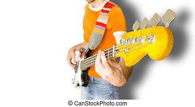 gitarowy gracz, bas
