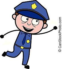 gliniarz, wektor, policjant, -, ilustracja, skokowy, retro, haczyk