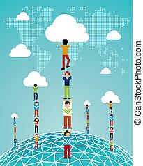 globalny, chmura, powodzenie, obliczanie