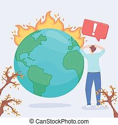 globalny, klimat zmiana, ocieplać