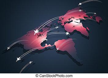 globalny, lotnictwo, pojęcie, handlowy, tło