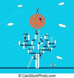 globalny, pojęcie, handlowy, powodzenie, ilustracja