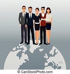 globalny, teamwork, handlowy zaludniają