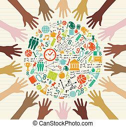 globalny, wykształcenie, ludzki, hands., ikony