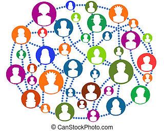 globalny, złączony, sieć, ludzie