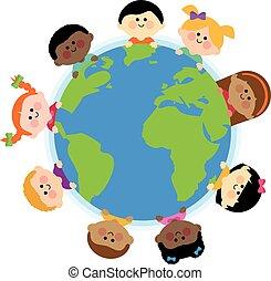 globe., ilustracja, wektor, ziemia, rozmaity, dzieci, dookoła