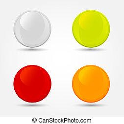 globusy, wektor, barwny, połyskujący