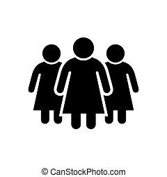 glyph, kobiety, samica, grupa, ikona, albo